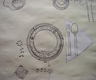 Meri Gorni, Coperti (n° 8 pezzi), 2001, Disegno su carta alimentare, grafite, filo, collage, 46.5x48 cm ciascuno