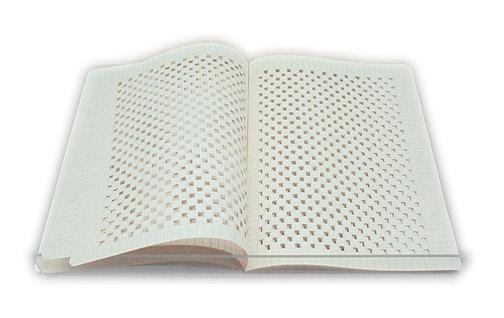 Sabrina Mezzaqui, Exercise-books, 1998-1999, quaderno ritagliato e bucato a mano seguendo la quadrettatura di ciascuna pagina, leggio in plexigas, 20,5 x 30 cm cad.