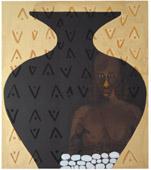 Fathi Hassan, Contenitore dell'anima, 2003, tecnica mista su tela, 149,5 x 130 cm, courtesy Galleria Capricorno, Capri; bencivART Gallery, Pesaro