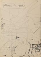 Gaetano Brundu, Prima di tutto la pace, 1980-1981, disegno su carta, 70 x 50 cm