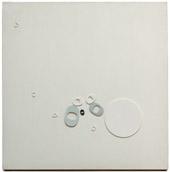 Ermanno Leinardi, T5/9 A fondo bianco, 1973, acrilico e rilievo su tela, 80 x 80 cm