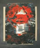 Angelino Fiori, Righe di rossa memoria, 2000, acrilico su cartone ondulato, stampa, foglia d'oro, 110 x 140 cm