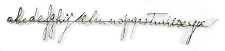 Giuseppe Penone, Alfabeto, 1969, metallo, 155 x 3 cm, fotografia 18,5 x 40 cm, plexigas, collezione M&B