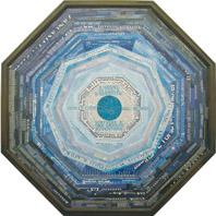 Eugenio Miccini, I segni in cerca di identità, 1998, collage su legno, 110 x 110 cm, collezione Luchi-Delogu