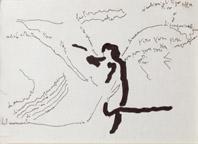 Ketty La Rocca, Senza titolo, 1974, fotografia, china e pennarello su carta, 3 pezzi 14 x 9 cm cad., courtesy Galleria Martano, Torino